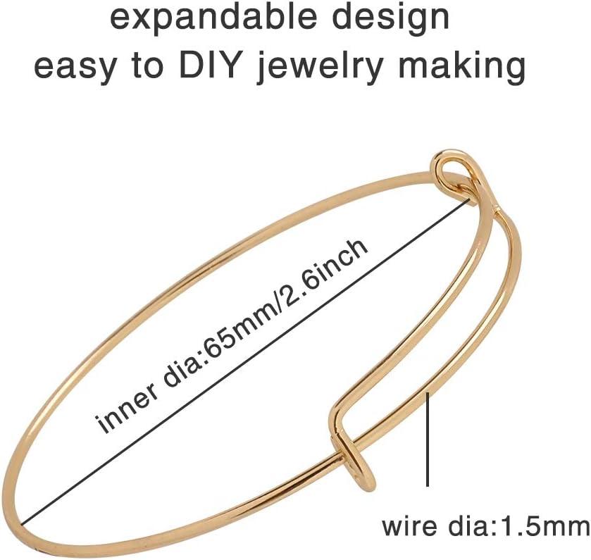 40Pcs Expandable Bangle Bracelet Adjustable Bracelets Blank Wire Bangle for Women DIY Jewelry Making Silver and White K 4 Styles