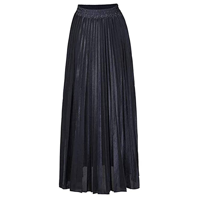 CHIYEEE Mujer Plisada Básica Largo Falda Negro XXL: Amazon.es ...