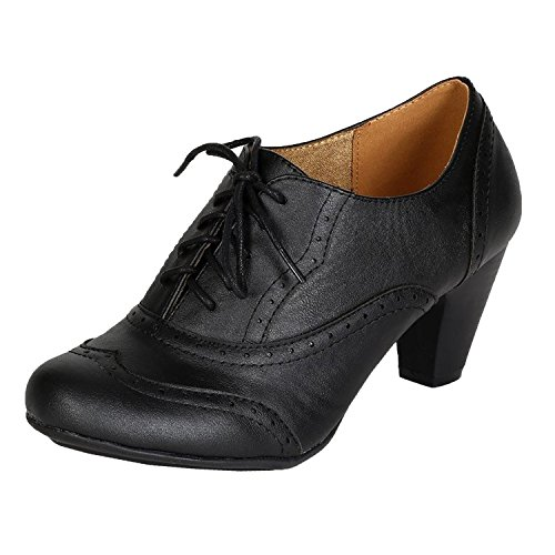 Women Leatherette Lace Up Oxford Chunky Heel Bootie BH50 - Black (Size: 8.5)