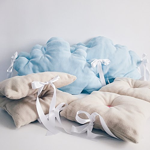Baby crib lovely bedding set for girls and boys in light blue and beige by Tutti Handmade Studio