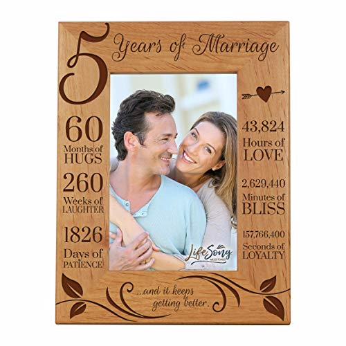 LifeSong Milestones 5th Anniversary Picture Frame 5 Years of Marriage - Five Year Wedding Keepsake Gift for Parents Husband Wife him her Holds 4x6 Photo - and It Keeps Getting Better (6.5x8.5) (Best 5th Year Wedding Anniversary Gifts)