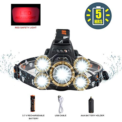LED Headlamp Flashlight,COSOOS Rechargeable Headlamp with Red Safety Light, 3800 Lumen Brightest 4-Mode Headlight, Waterproof, Zoomable Headlamp for Adults, Hard Hat, Working, Battery Included