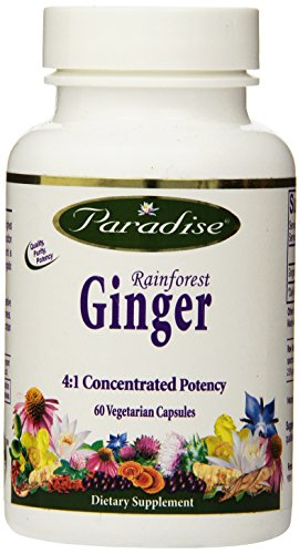 Paradise Herbs Rainforest Ginger 2.5% Gingerols Vegetarian Capsules, 60 Count (Forest Ginger Rain)