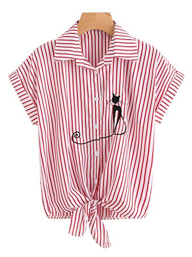 lili's story Women's Vertical Stripes Button Down Long Roll Up Sleeves Shirt(Red Stipe,x-Large)