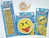 Emoji Smiley Back to School Bundle Set Teens Pencils Jumbo Eraser Dual Hole Sharpeners (2) Tape 4 Piece Set