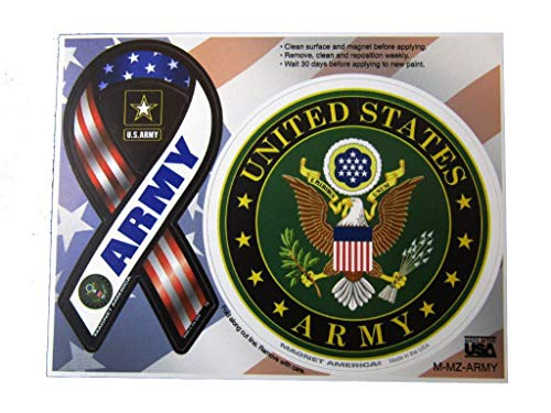 - ALBATROS (2 Pack) U.S. Army Emblem with Ribbon 4ft Inch Magnet (Car Fridge Other) for Home and Parades, Official Party, All Weather Indoors Outdoors