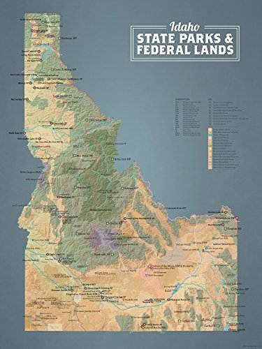 Idaho State Parks & Federal Lands Map 18x24 Poster (Natural Earth)