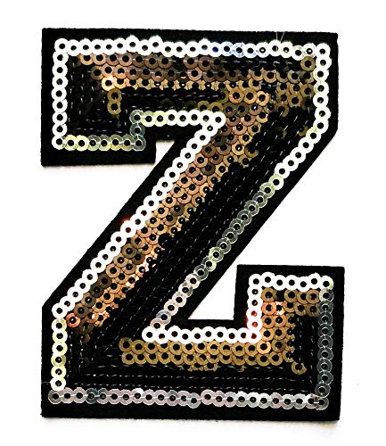Black Sequins Letter Z Patch Letter Patches Applique Embroidery Iron On Badge DIY Patch Letter ABC English Student School Patches for Gift (Black Sequins Letter Z)
