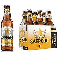 Cerveza Sapporo Premium Beer, 12 pack de 12 botellas de 355ml, Estilo Lager, 5.4% ABV, Importada de Canadá