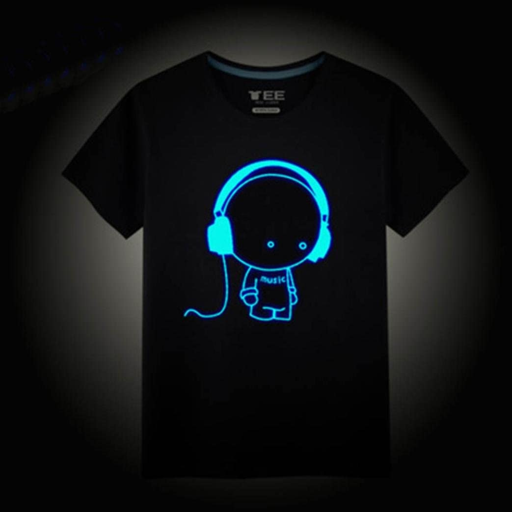 Lovely Black Cotton Short Sleeve Music Boy Fluorescence in The Dark Blouse T-Shirt WARMSHOP Summer Family Dad /& Boys Tops