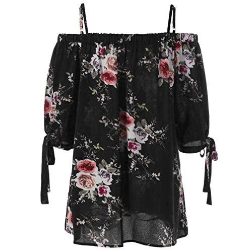 Mode Schwarz Courtes Vintage Fleur Shirt Tee Blouse Taille Fille Bouffant Grande Shirt Manches Top Elgante Off Classique Bateau Et Dcontract Shoulder Encolure Femme Imprim Haut 7qwSxCE