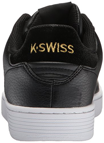 K-Swiss Women's Clean Court CMF Sneaker, Black White Hologram Black/Gold
