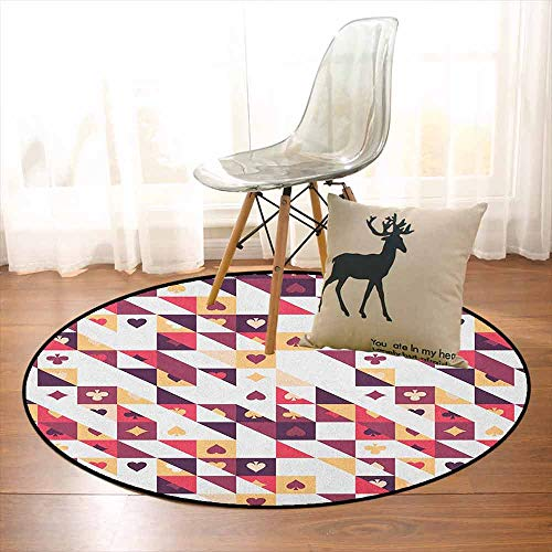 Casino Better Protection Pattern of The Cards and Triangles Player Chances Events Creative Kid Game Carpet D59 Inch Dark Coral Dark Purple Tan