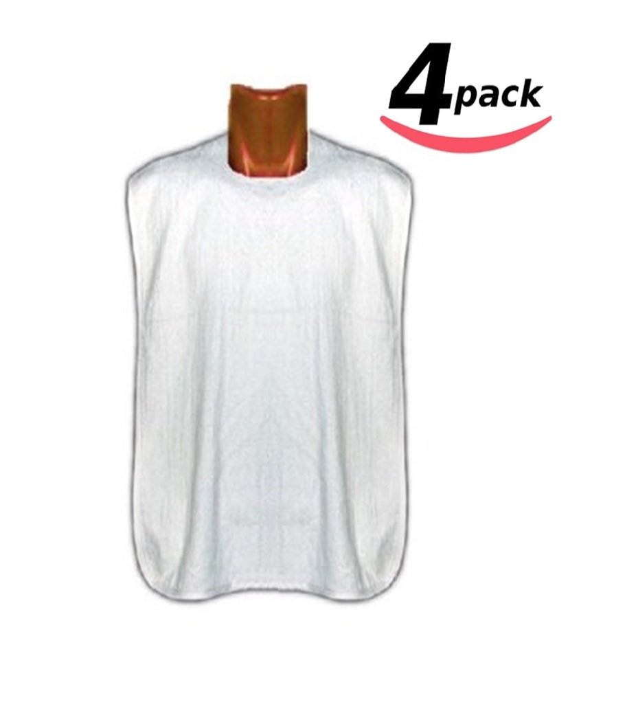 Deluxe Adult Terry Cloth BIBS W/ VELCRO CLOSURE - 4PK