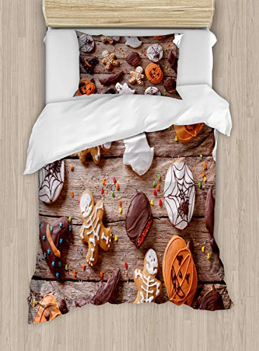 Ambesonne Cookie Duvet Cover Set Twin Size, Sweets Covered in Chocolate Dipped in Frosting Halloween Theme Ghosts and Pumpkins, Decorative 2 Piece Bedding Set with 1 Pillow Sham, Multicolor