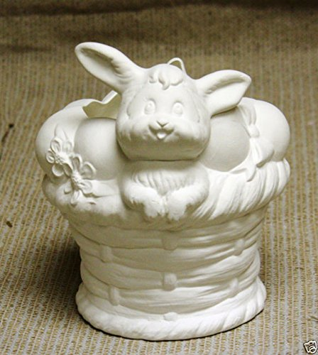 Easter Bunny Rabbit on Large Basket Container Planter Candy Dish unpainted ceramic bisque ready to be painted