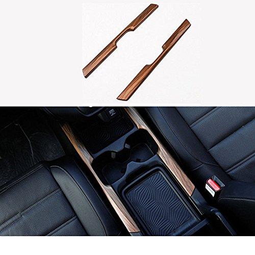 (Flash2ning for Honda CRV CR-V 2017 2018 2019 ABS Peach Wood Grain Water Cup Holder Stripe Trim 2Pcs Per Set )