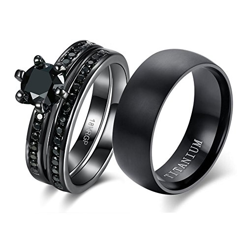 loversring Couple Ring Bridal Sets His Hers Women 18k Black Gold Plated Cz Men Titanium Wedding Ring Band Set