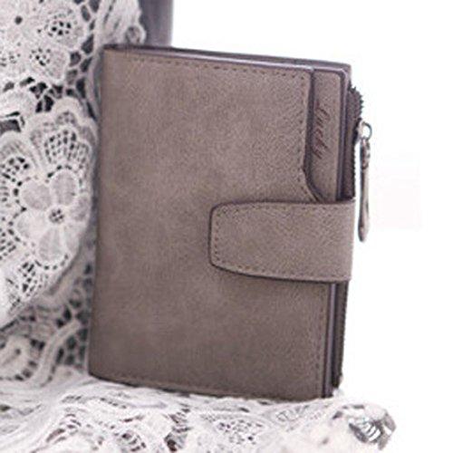 Geldbörse DDLBiz® Frauen Mini Bifold Leder Geldbörse Card Inhaber Geldbörse (Grau)