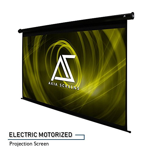 "9 Projection Motorized Screen (Akia Screens 110"" Motorized Electric Projector Projection Screen, 16:9, 8K 4K Ultra HD 3D Ready Wall/Ceiling Mounted, 12V Trigger, Remote, Manufacturer Warranty with Chat Service, AK-MOTORIZE110H)"