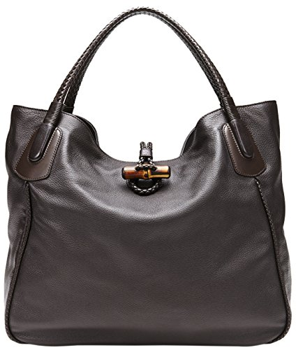 Gucci-Dark-Brown-Leather-Hip-Bamboo-Large-Tote-Bag