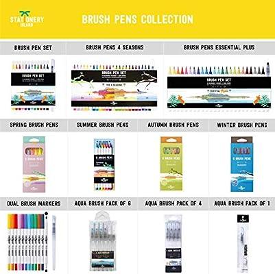 Stationery Island Brush Pen Vera Punta a Pennello Pennarelli Acquarello 12Pz+1