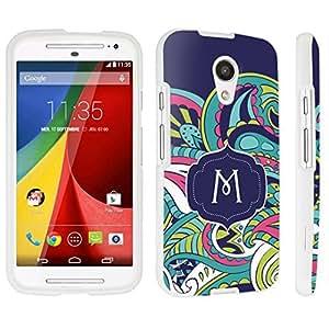 DuroCase ? Motorola Moto G 2nd Gen. 2014 Hard Case White - (Mint Flower Monogram M)