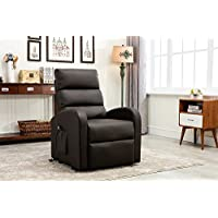 Divano Roma Furniture - Classic Plush Bonded Leather Power Lift Recliner Living Room Chair (Brown)