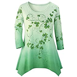 Sequins Green Background with 3/4 Sleeves Top