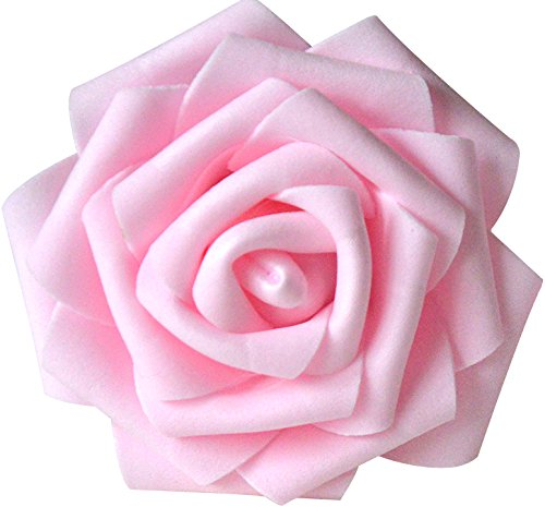 Lightingsky 8cm Real Touch Artificial Rose Head, DIY 3D Artificial Flowers for Wedding Bouquets, Room Decoration (100, Pink 1)
