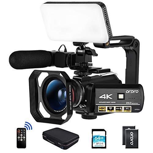 ORDRO AC3 Video Camera 4K Camcorder HD 1080P 60FPS Vlog Camera IR Night Vision Video Recorder with Microphone, Wide Angle Lens,LED Light, Lens Hood, Handle,64GB SD Card, 2 Batteries,Carrying Case