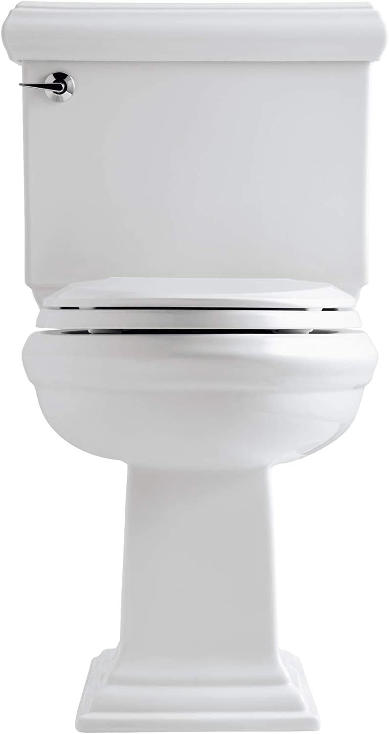 Amazon Com Kohler K 3816 U 0 Memoirs Classic Comfort Height Elongated 1 28 Gpf Toilet With Aqua Piston Flush Technology Insuliner And Left Hand Trip Lever 2 Piece White Home Improvement