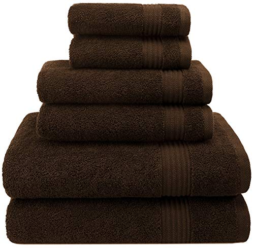 - Hotel & Spa Quality, Absorbent and Soft Decorative Kitchen and Bathroom Sets, Cotton, 6 Piece Turkish Towel Set, Includes 2 Bath Towels, 2 Hand Towels, 2 Washcloths, Chocolate Brown