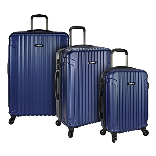 U.S. Traveler Akron 3-Piece Hardside Spinner Luggage Set, Navy - Polycarbonate 3 Piece