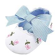 Elaco Infant Baby Girls Moccasins Anti-Slip Soft Sole Princess Shoes (0~6 Month, White)