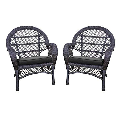 Jeco Wicker Chair with Black Cushion, Set of 2, Espresso W00208-