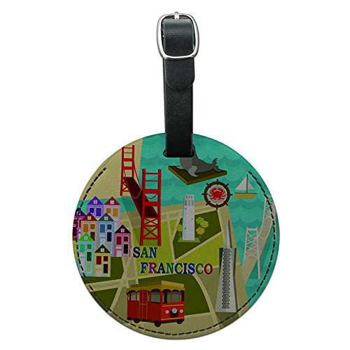 Graphics & More San Francisco Golden Gate Bridge Bay Pier 39 Round Leather Luggage Id Tag, Black (Pier Golden)
