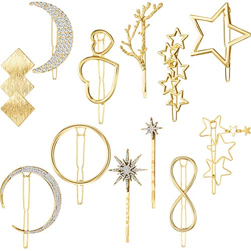 12 Pieces Hair Barrettes Hair Clips Minimalist Gold Hair Pins Women Lady Girl Hair Accessories Rhinestone Pearl Moon Star Pearl Hair Clip Vintage Snap Barrette Comb Stick Claw Crab Clamp