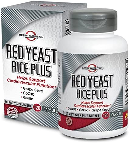 Optim Nutrition Red Yeast Rice Plus CoQ10, Garlic, Grapeseed for Cardiovascular Support 120 Capsules