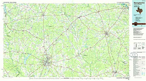 Used, YellowMaps Nacogdoches TX topo map, 1:100000 Scale, for sale  Delivered anywhere in USA