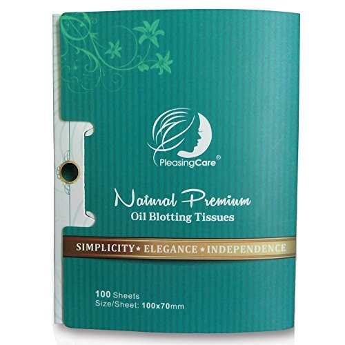 Natural Bamboo Charcoal Oil Absorbing Tissues - 100 Counts, Easy Take Out Design - Top Oil Blotting Paper, Premium Handy Face Blotting Sheets - Facial Skin Care or Make Up Must Have! -