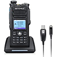VETOMILE V-2017 Dual Band DMR Digital/Analog Two Way Radio 5W VHF 136-174MHZ & UHF 400-480MHz Walkie Talkie 3000 Channels IP67 Waterproof with GPS Function and Programming Cable
