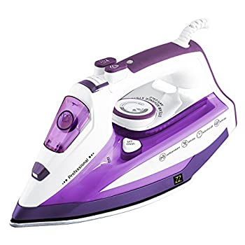 ZZ ES322-P 1500 Watt Steam Iron ,Auto shut off; Self-cleaning system removes deposits; Anti-drip system, Anti-calc system,Purple