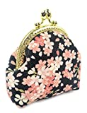 POPUCT Retro Women's Cute Classic Exquisite Buckle Coin Purse(black-floral)