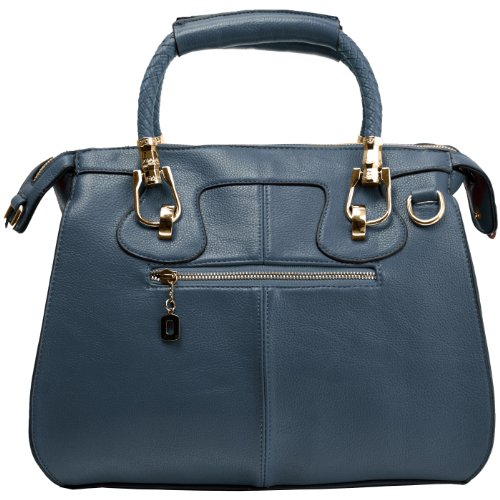 MARISSA Blue Office Tote Top Double Handle Doctor Style Bowler Handbag Satchel Purse Shoulder Bag