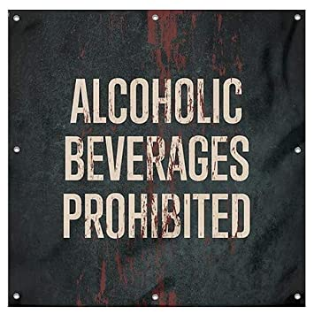 Alcoholic Beverages Prohibited 8x8 CGSignLab Ghost Aged Rust Wind-Resistant Outdoor Mesh Vinyl Banner