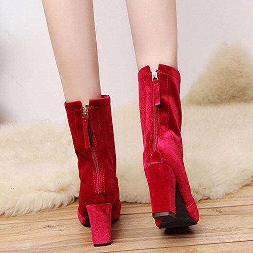 Sikye Femmes Légères Bottes Dames Flock Bottes Chaudes Talons Hauts Cheville Martin Chaussures Rouge