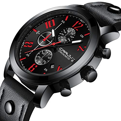 CRRJU 3-Sub Dial Men Business Sport Military Calendar Wrist Watches with Leather Black Belt -