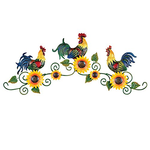 Roosters Trio on Scrolling Vine Metal Wall Art Decor
