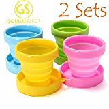Gouda Select Collapsible Cups Camping Cups School Travel Cups 8 cups 4 colors Silicone Lightweight offers